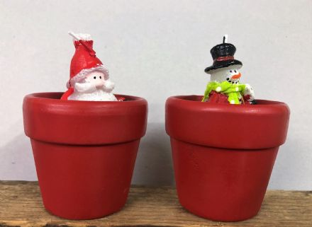 Santa & Snowman Candle Pots ~ Set of 2